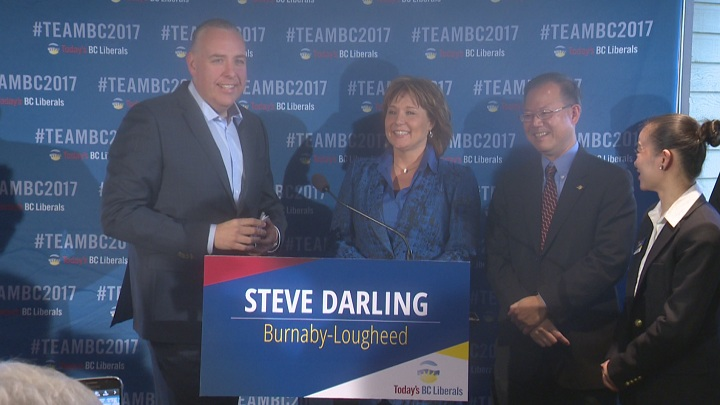 Premier Christy Clark announced former Global BC anchor Steve Darling will be the BC Liberals' candidate in the riding of Burnaby-Lougheed.