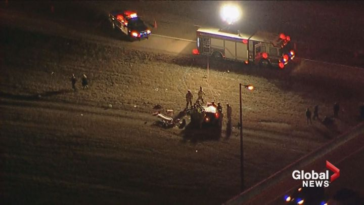 Crews on scene at a serious crash along Deerfoot Trail Tuesday afternoon.