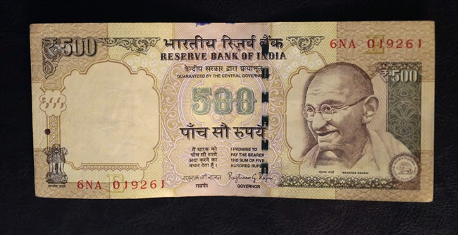 The 500 rupee note (pictured here) and 1000 rupee note were withdrawn from circulation on midnight Tuesday.