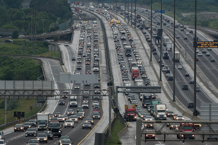 Afternoon traffic on Highway 401 east and westbound in Toronto.