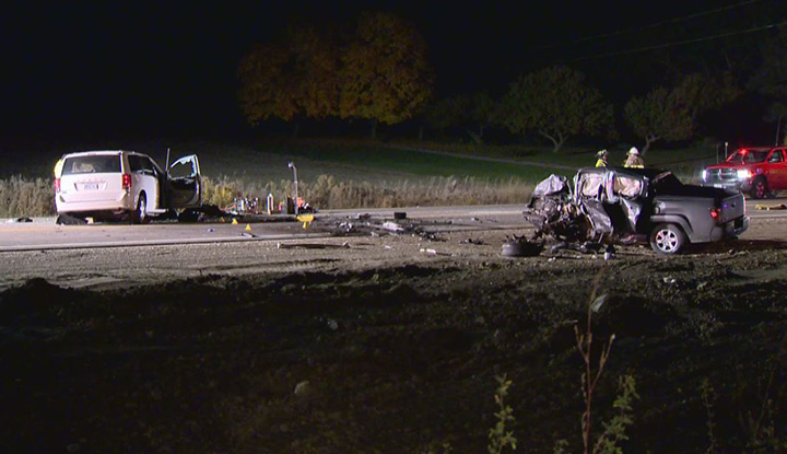 Two drivers died after a head-on collision in Essa Township, south of Barrie, Ont., early Saturday.