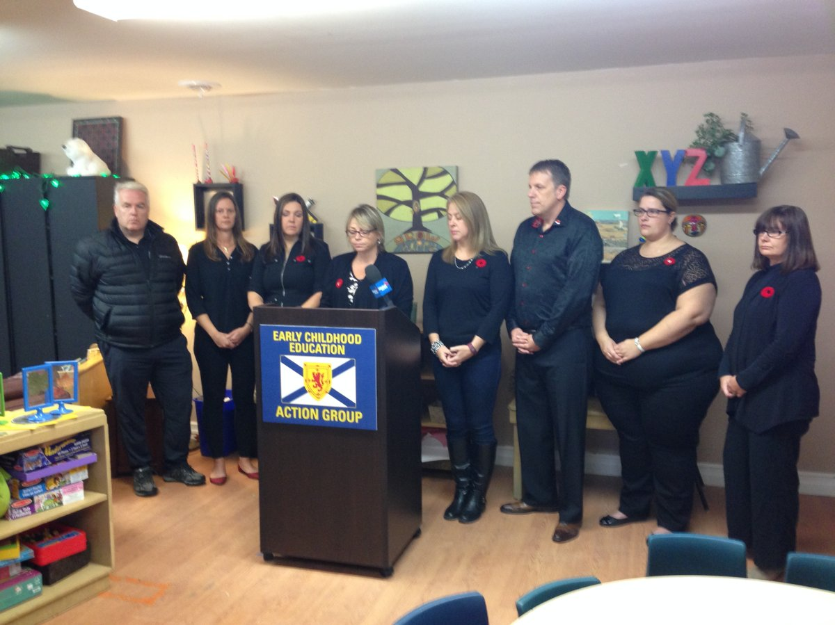 Early Childhood Education Action Group hold press a conference at Giant Steps Children's Centre in Upper Tantallon on Wednesday.