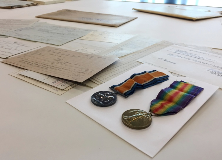 Medals and paper records are displayed at the Library and Archives Canada preservation centre in Gatineau, QC on Nov. 1, 2016.