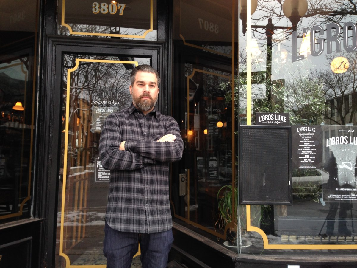 Owner Alexandre Bastide outside L'Gros Luxe on rue St-André in Montreal's Plateau borough, Tuesday, November 22, 2016.