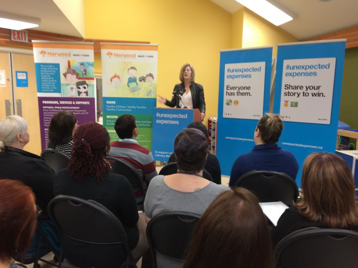 Service Minister Stephanie McLean, along with representatives from the City of Edmonton, community organization Momentum and community hub Norwood Child and Family Resource Centre, urged Albertans to prepare for unexpected financial events.