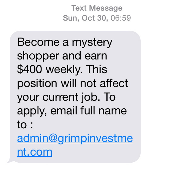 A text message that could lead to fraud.