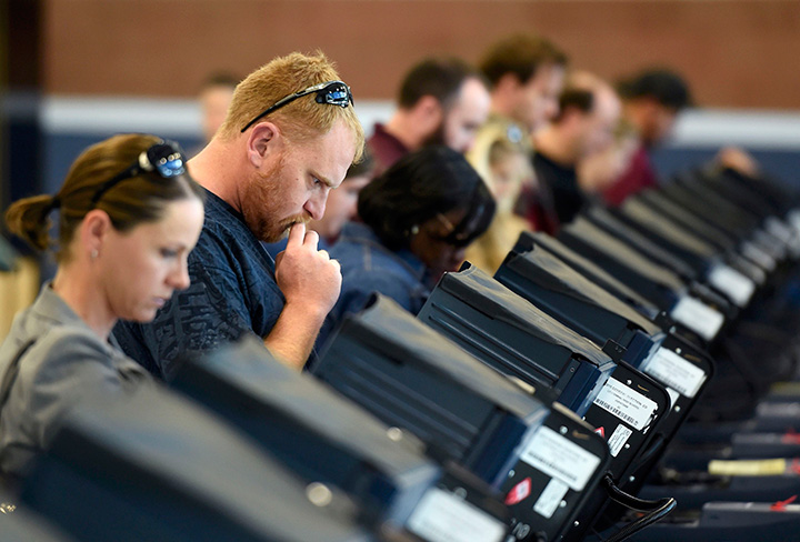 People cast their ballots during the 2016 presidential election in Nevada. Evidence of Russian influence during the election has been mounting, and experts warn Canada could face similar interference.