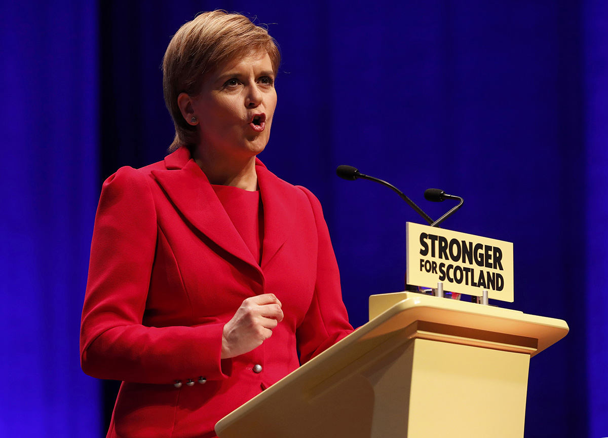 Scotland's First Minister and leader of the Scottish National Party (SNP), Nicola Sturgeon, addresses the party's annual conference in Glasgow, Scotland October 15, 2016.