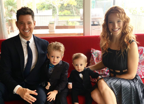 Michael Bublé, his wife Luisana, and his sons Noah and Elias.