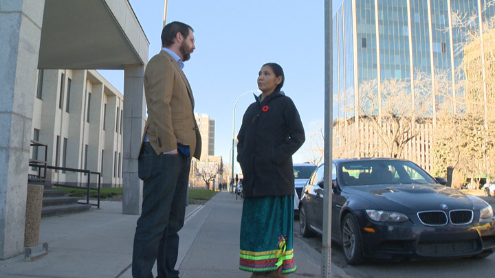 Charmaine Stick (right), an Onion Lake Cree Nation member, is suing the band for the right to know the salaries of the chief and council members, and to see basic financial statements.