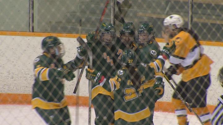 The Alberta Pandas women's hockey team celebrate Amy Boucher's game-winning goal against the Manitoba Bisons.