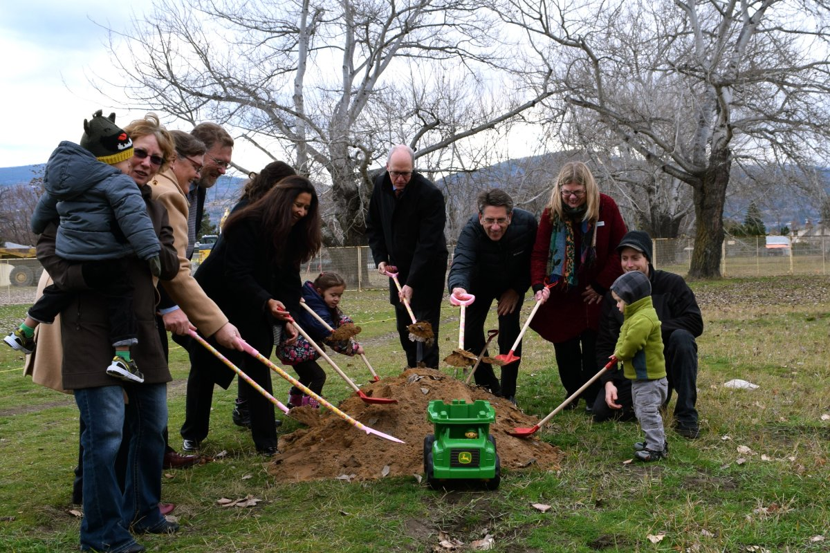 A sod-turning ceremony was held at Penticton's Okanagan college campus on Tuesday to mark the start of construction of a new daycare facility.