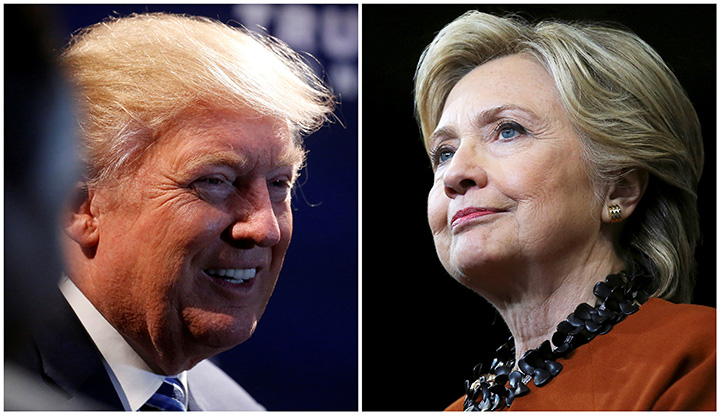 A combination photo shows U.S. Republican presidential nominee Donald Trump at a campaign event in Charlotte, North Carolina, U.S. on October 26, 2016 and U.S. Democratic presidential candidate Hillary Clinton during a campaign rally in Winston-Salem, North Carolina, U.S. on October 27, 2016.