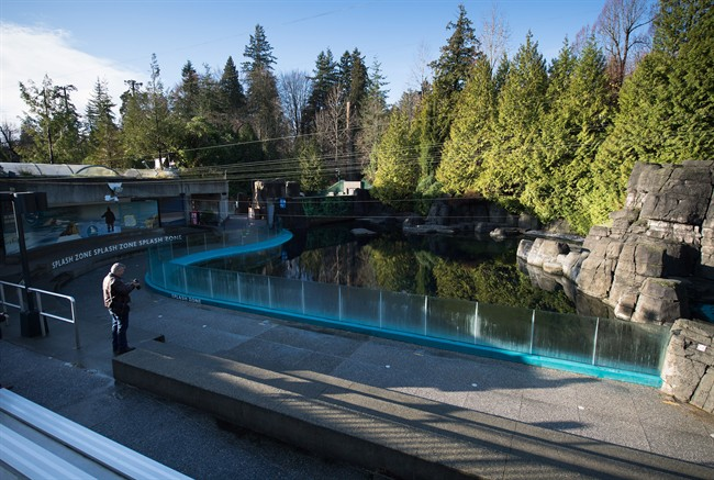 """Protesters staged a demonstration outside of the Vancouver Aquarium on Saturday under the banner """"empty the tanks.""""."""