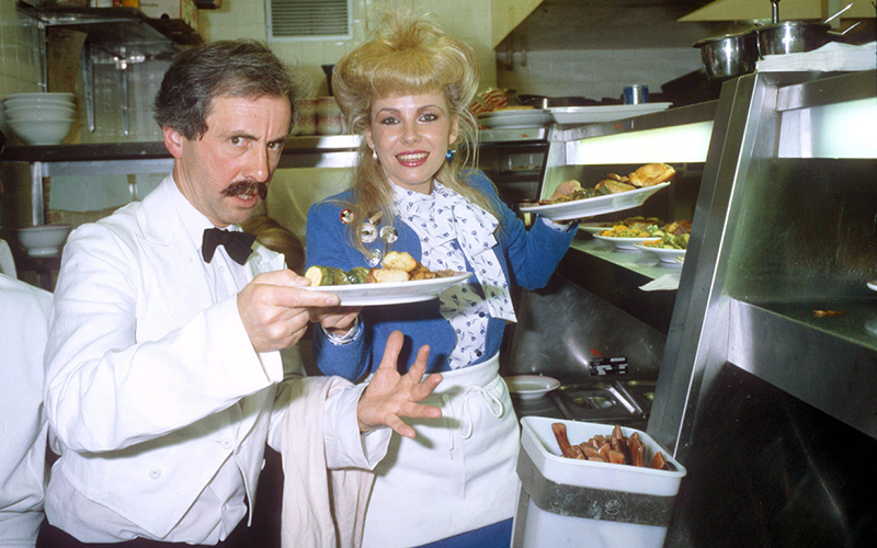 Mandatory Credit: Photo by Richard Young/REX/Shutterstock (89541a) Andrew Sachs AND Pamela Stephenson ANDREW SACHS AS MANUEL FROM FAWLTY TOWERS - 1981.
