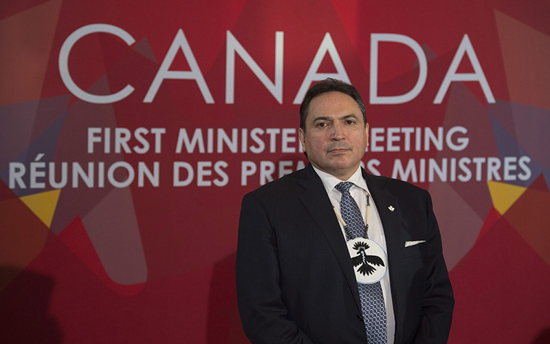 Assembly of First Nations Chief Perry Bellegarde listens to a question as he speaks with the media following the First Ministers' and National Indigenous Leaders' Meeting in Ottawa, Friday, December 9, 2016.
