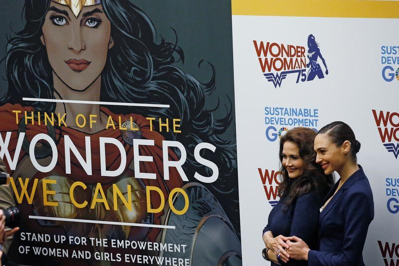 Actors Gal Gadot and Lynda Carter pose for photos during an event to name Wonder Woman UN Honorary Ambassador for the Empowerment of Women and Girls at the United Nations Headquarters in the Manhattan borough of New York, New York, U.S., October 21, 2016.