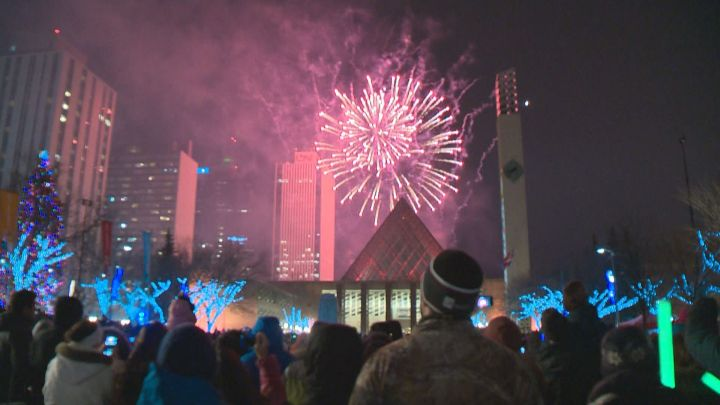 The 2016 New Year's Eve fireworks in downtown Edmonton.