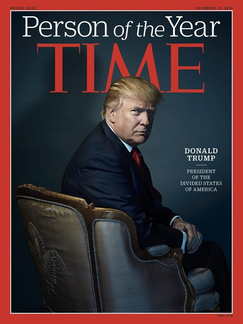 This image provided by Time magazine, shows the cover of the magazine's Person of the Year edition with President-elect Donald Trump in New York.