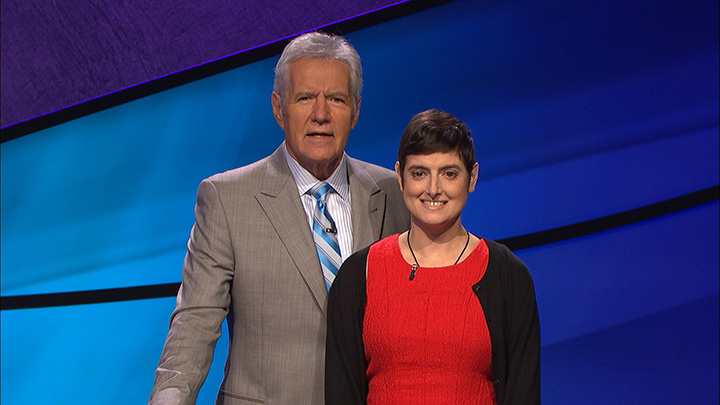 Jeopardy! host Alex Trebek with game show contestant Cindy Stowell.