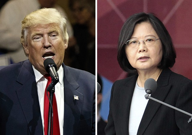 """This combination of two photos shows U.S. President-elect Donald Trump, left, speaking during a """"USA Thank You"""" tour event in Cincinatti Thursday, Dec. 1, 2016, and Taiwan's President Tsai Ing-wen, delivering a speech during National Day celebrations in Taipei, Taiwan, Monday, Oct. 10, 2016."""