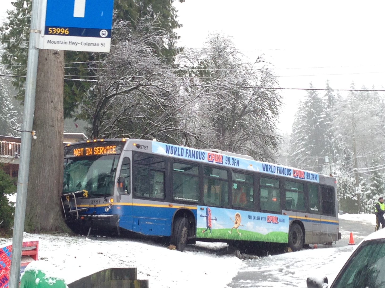 bus into a tree North Vancouver snow