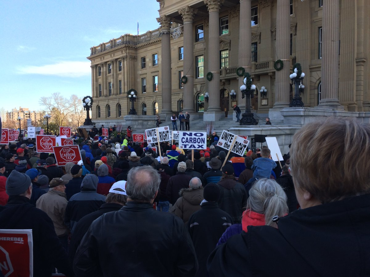 Several hundred people gathered for an anti-carbon tax rally at the Alberta legislature on Saturday, which was organized by conservative  news organization Rebel Media. December 3, 2016.