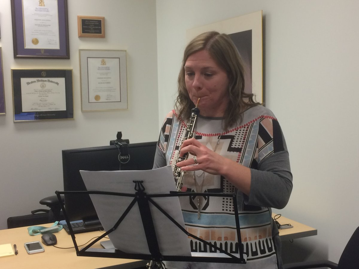 A classically-trained oboist, Christine Guptill, says musicians can suffer serious injuries.