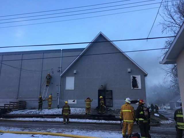Fire destroys a church in Stony Plain.