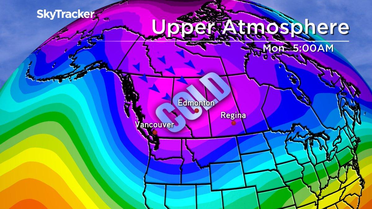 Cold air moves into Alberta Monday Dec. 5th, 2016.