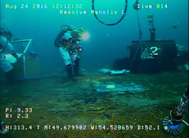 File - A still image from video footage showing the Manolis L under going a technical assessment is shown in this undated handout.