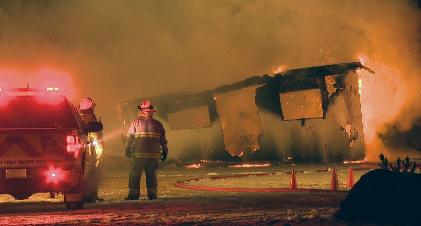 Mobile home destroyed near Monarch, Alberta.