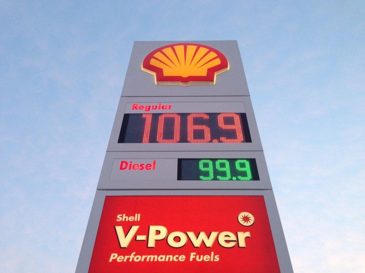 Gas prices increase in Edmonton above a dollar per litre, Thursday, Dec. 29, 2016.