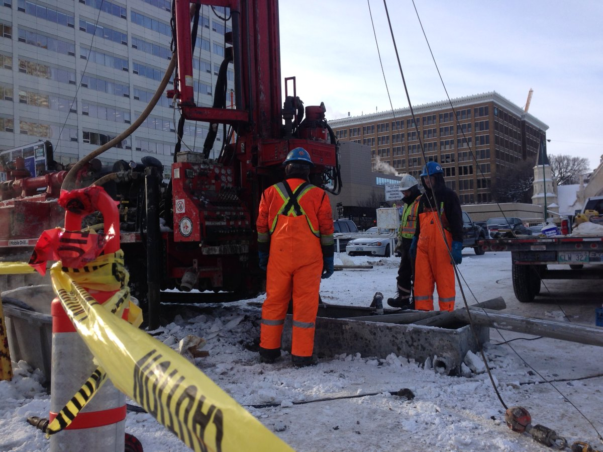 Crews dig on SkyCity site off Graham Ave to test bedrock for foundation.