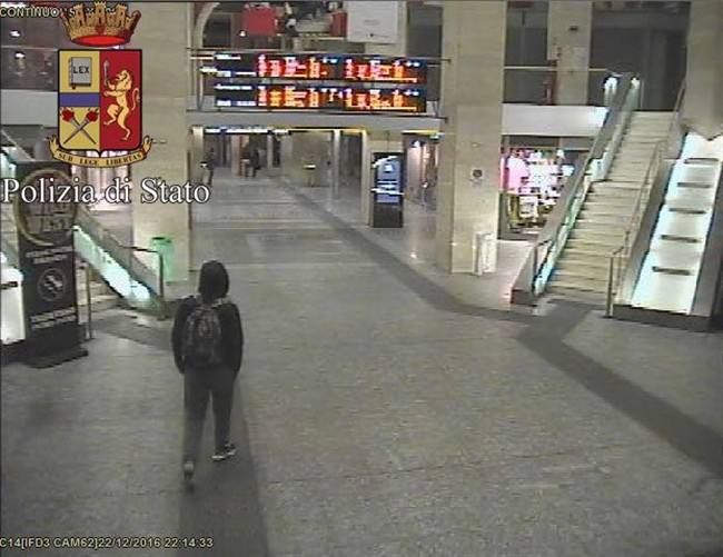 In this frame grab made available by the Itaalian police, Anis Amri, the main suspect in Berlin's deadly Christmas market attack walks through the train station on Dec. 22. (Italian Police via AP).