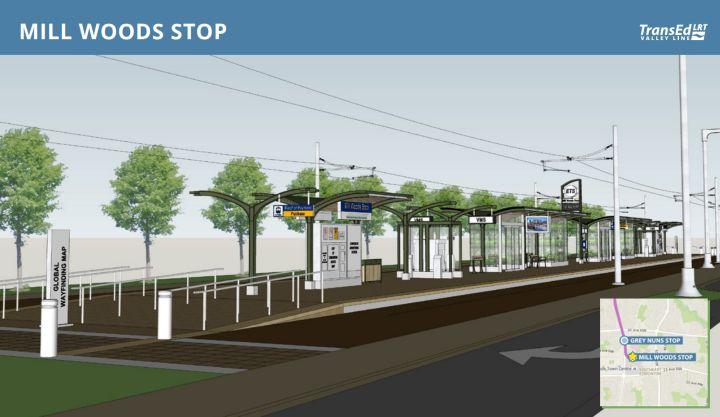Artist rendering of the Mill Woods stop on Edmonton's Valley Line.