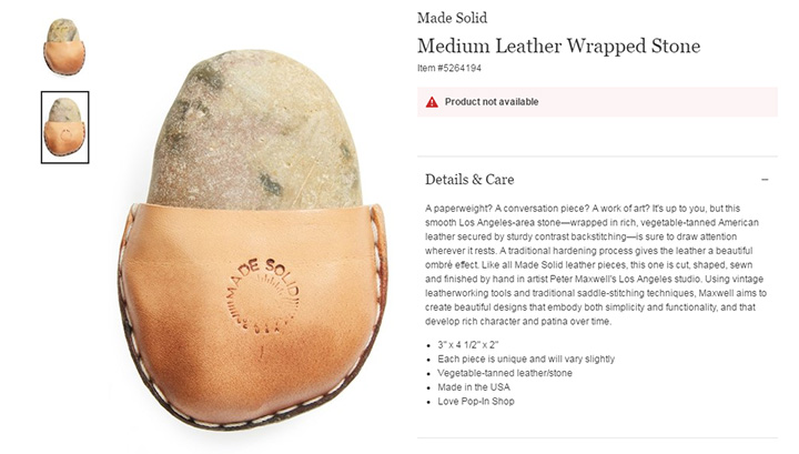 """The popular U.S. department store chain was selling a $112 ($85 US) """"Medium Leather Wrapped Stone."""" ."""