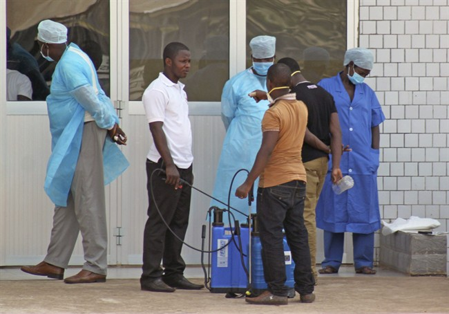 Medical personnel at the emergency entrance of a hospital wait to receive suspected Ebola virus patients in Conakry, Guinea in this March 29, 2014 file photo.