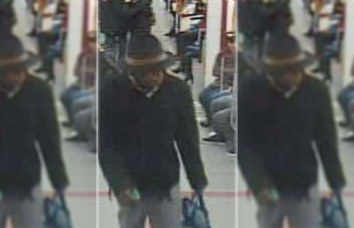 Security image of a male suspect wanted for an alleged sex assault on board a TTC subway car on Nov. 27, 2016.