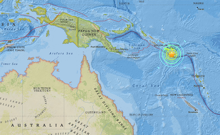 A powerful 7.7- magnitude earthquake struck near the Solomon Islands in the early hours of Friday morning local time.