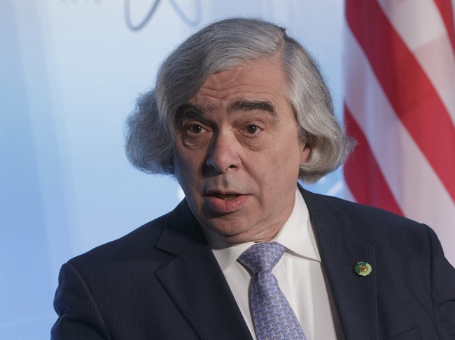 FILE - In this April 1, 2016 file photo, Energy Secretary Ernest Moniz speaks at the Nuclear Security Summit in Washington. The Energy Department said Wednesday it is offering a conditional, $2 billion loan guarantee to capture and store carbon dioxide at a planned Louisiana methanol plant, a new element of the Obama's administration's strategy to slow global warming.