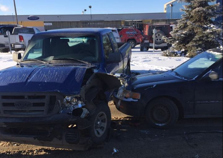 Several damaged vehicles near 117 Ave. and 156 St. on Jan. 3, 2017.