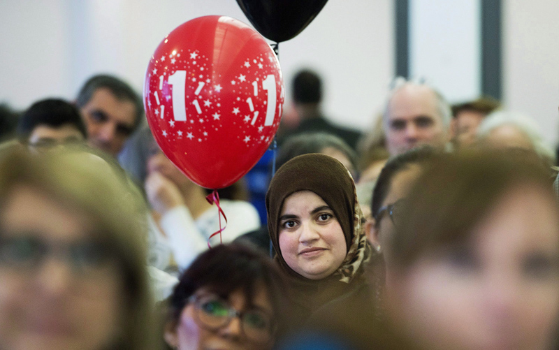 Syrian refugee Faten Nseirat attends an event to mark the one year anniversary of the arrival of refugees from Syria to Canada, in Montreal,  December 11, 2016.