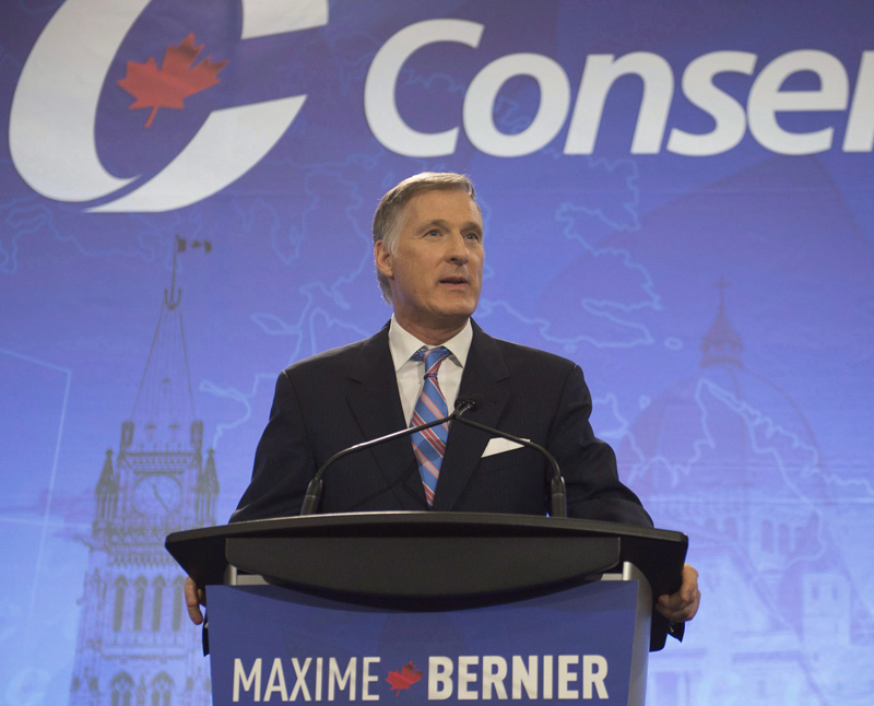 Leadership candidate Maxime Bernier speaks during a Conservative Party leadership debate.