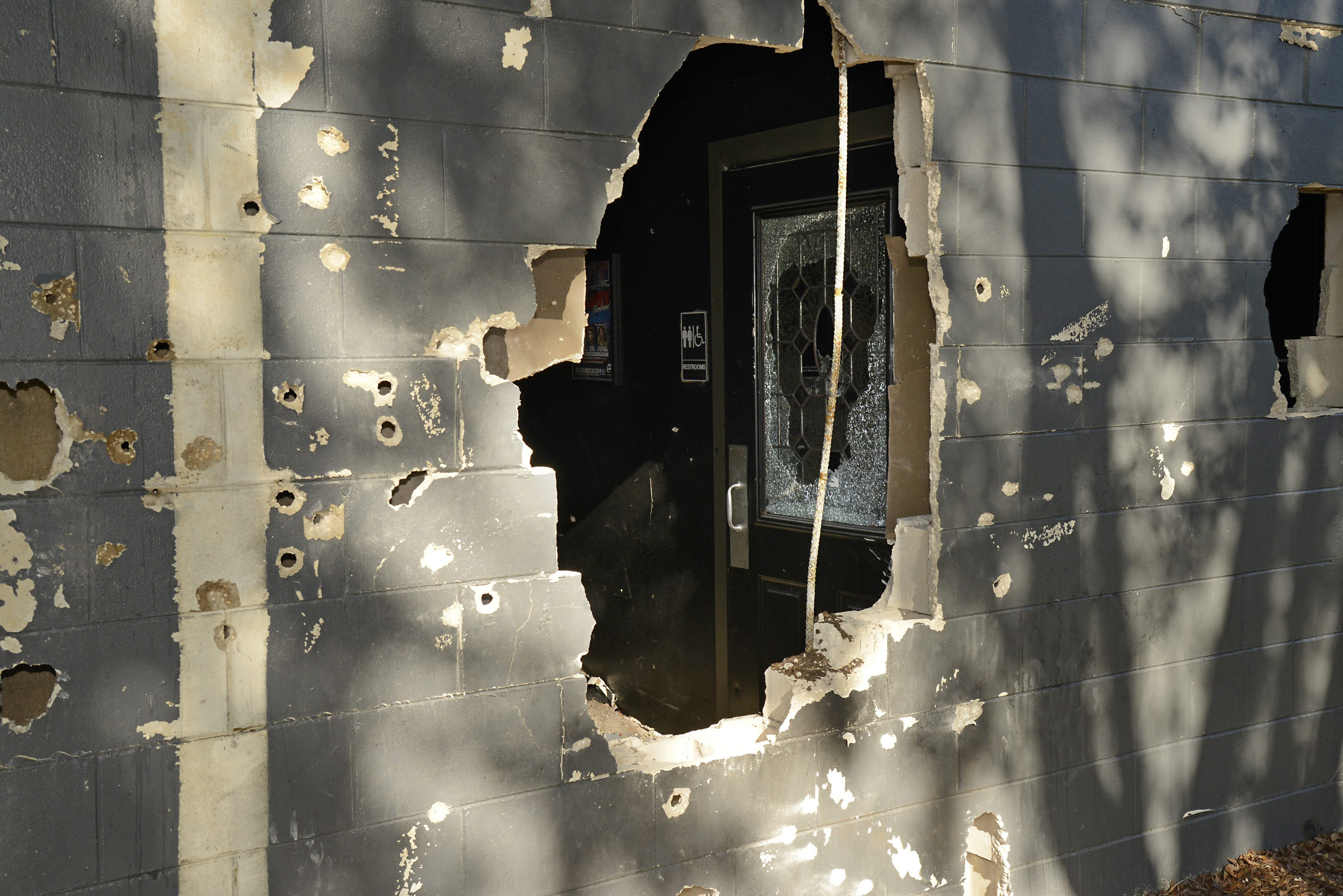 This June 20, 2016, photo released by the City of Orlando shows bullet holes and openings where police officers breached a wall of the Pulse nightclub to free hostages trapped in the worst mass shooting in modern U.S. history on the night of June 12, 2016. Forty-nine people were killed and dozens were injured after gunman Omar Mateen entered the gay nightclub and opened fire last June. (City of Orlando via AP)