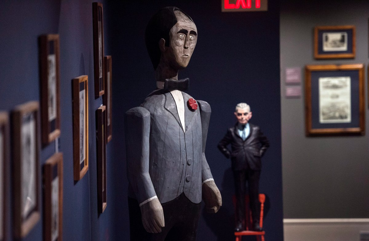 """A life-size carving of former Prime Minister Pierre Trudeau by artist Walter Cook is pictured in the exhibit """"Confederation - 150 Years: 23 Prime Ministers"""" at the Art Gallery of Nova Scotia in Halifax on Monday, January 23, 2017."""