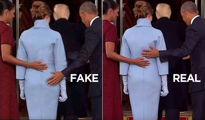 A photo (right) of Barack Obama was doctored to change the position of his hand (left).