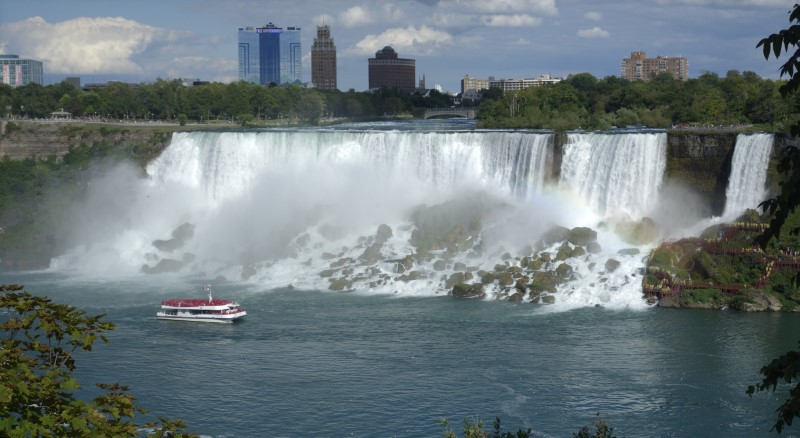 "The ""Maid of the Mist"" boat ventures at the bottom of the American Falls, Canadian side, at Niagara Falls, Ontario, Canada, August 21, 2015."