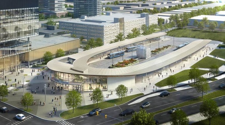 A rendering of the new Vaughan Bus Terminal.