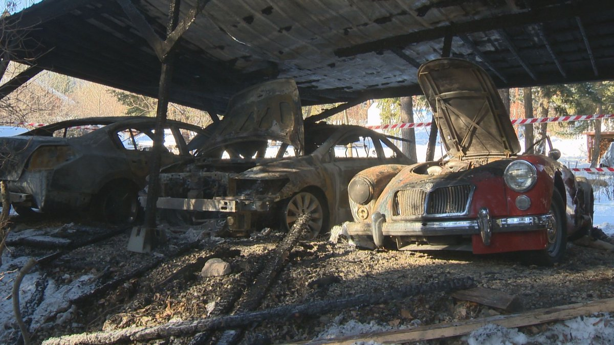 The cause of the fire that destroyed three cars is undetermined.